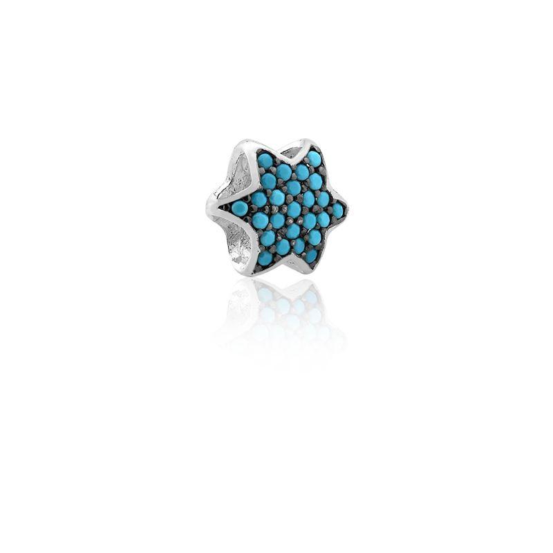 Berloque Estrela Zircônias Azul