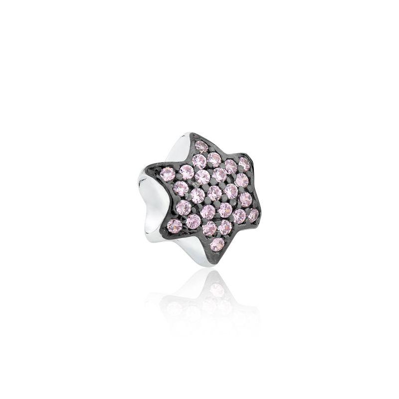 Berloque Estrela Zircônias Rosa