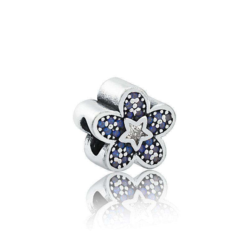 Berloque Flor com Estrela Azul