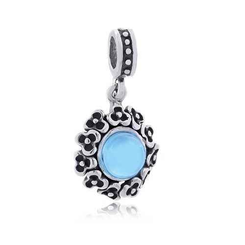 Berloque Flor Cristal Azul