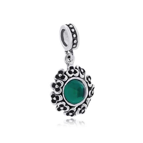 Berloque Flor Cristal Verde