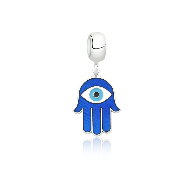 Berloque Mão de Hamsá Azul