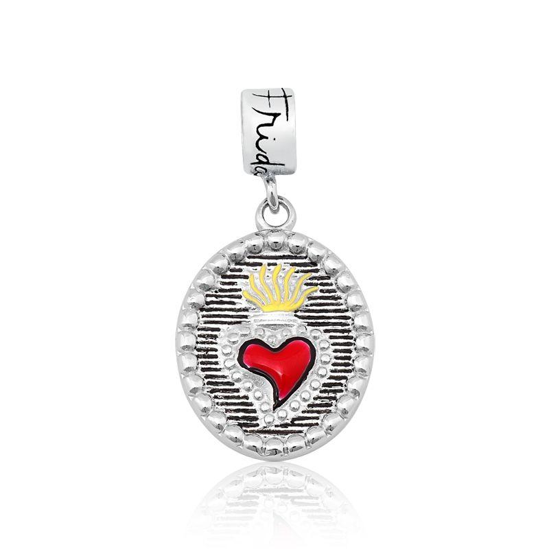 Berloque Medalha Coração Flamejante Frida Kahlo