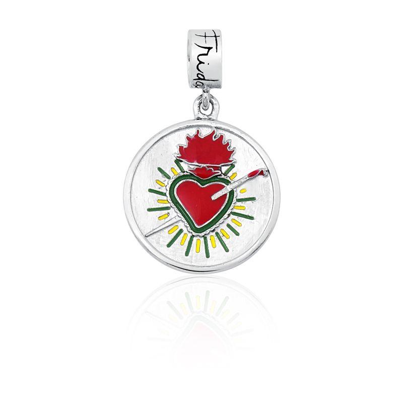 Berloque Medalha Coração Frida Kahlo