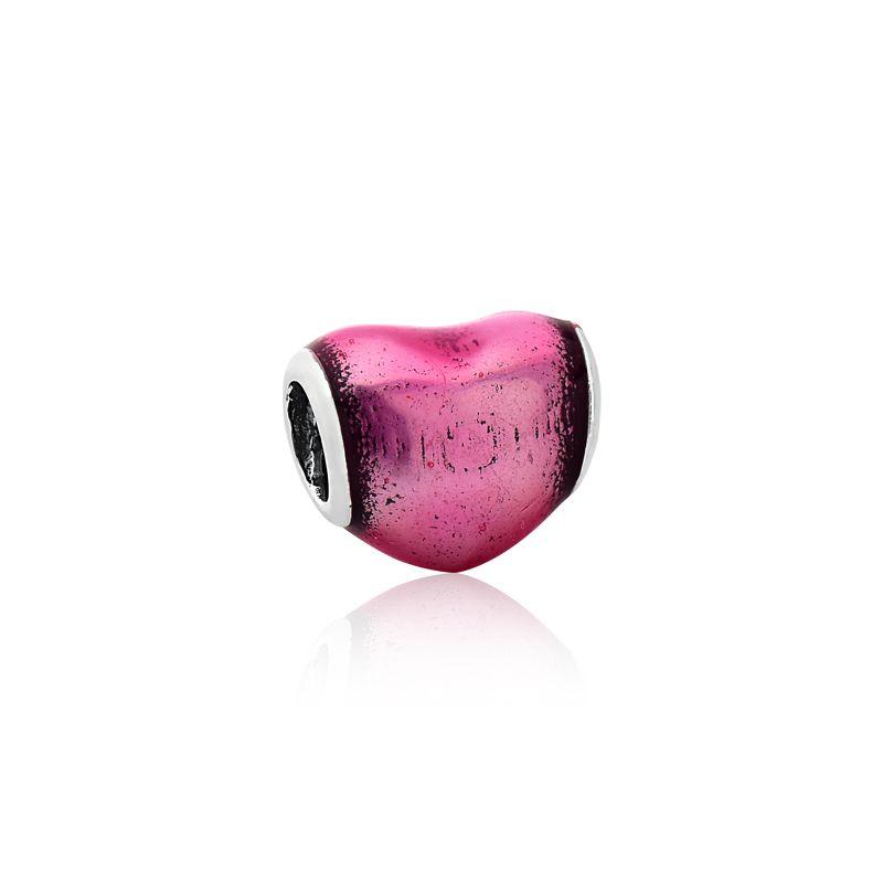 Berloque Mini Coração Rosa Metalizado