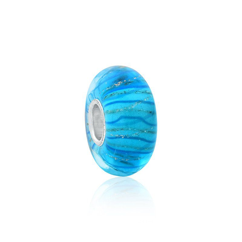 Berloque Murano Azul Listra de Glitter