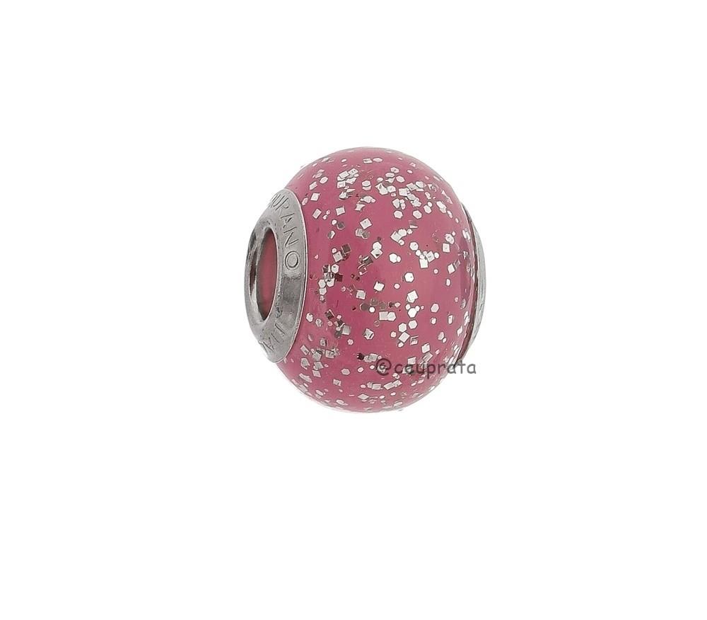 Berloque Murano Rosa Glitter