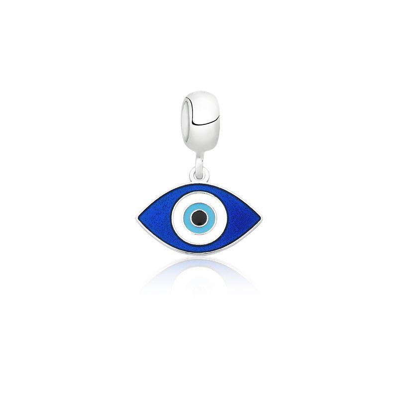 Berloque Olho Grego De Navete Azul
