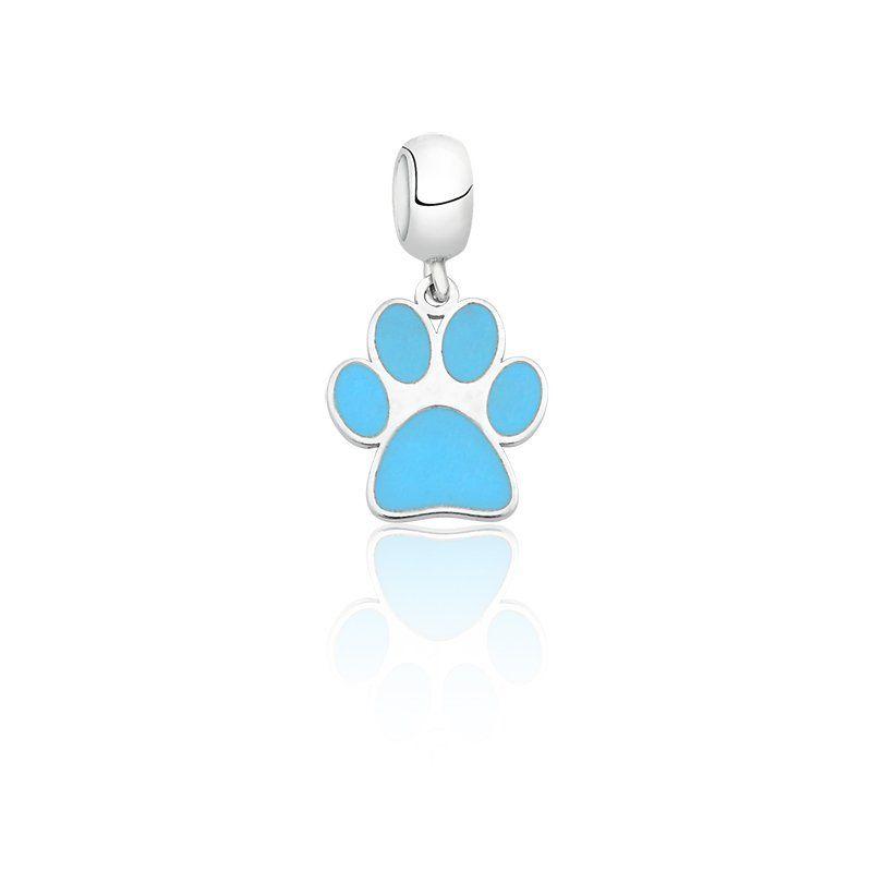 Berloque Patinha De Cachorro Azul Turquesa