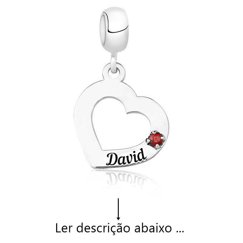 Berloque Personalizado Coração Nome Zircônia (Ler Descrição)