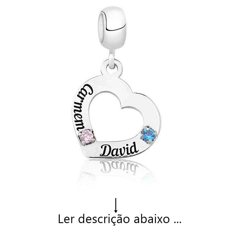 Berloque Personalizado Coração Nome Zircônias (Ler Descrição)