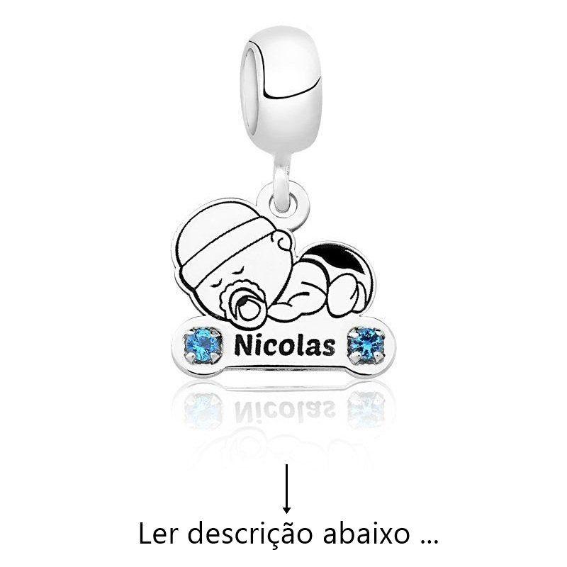 Berloque Personalizado Menino Baby Zircônia (Ler Descrição)