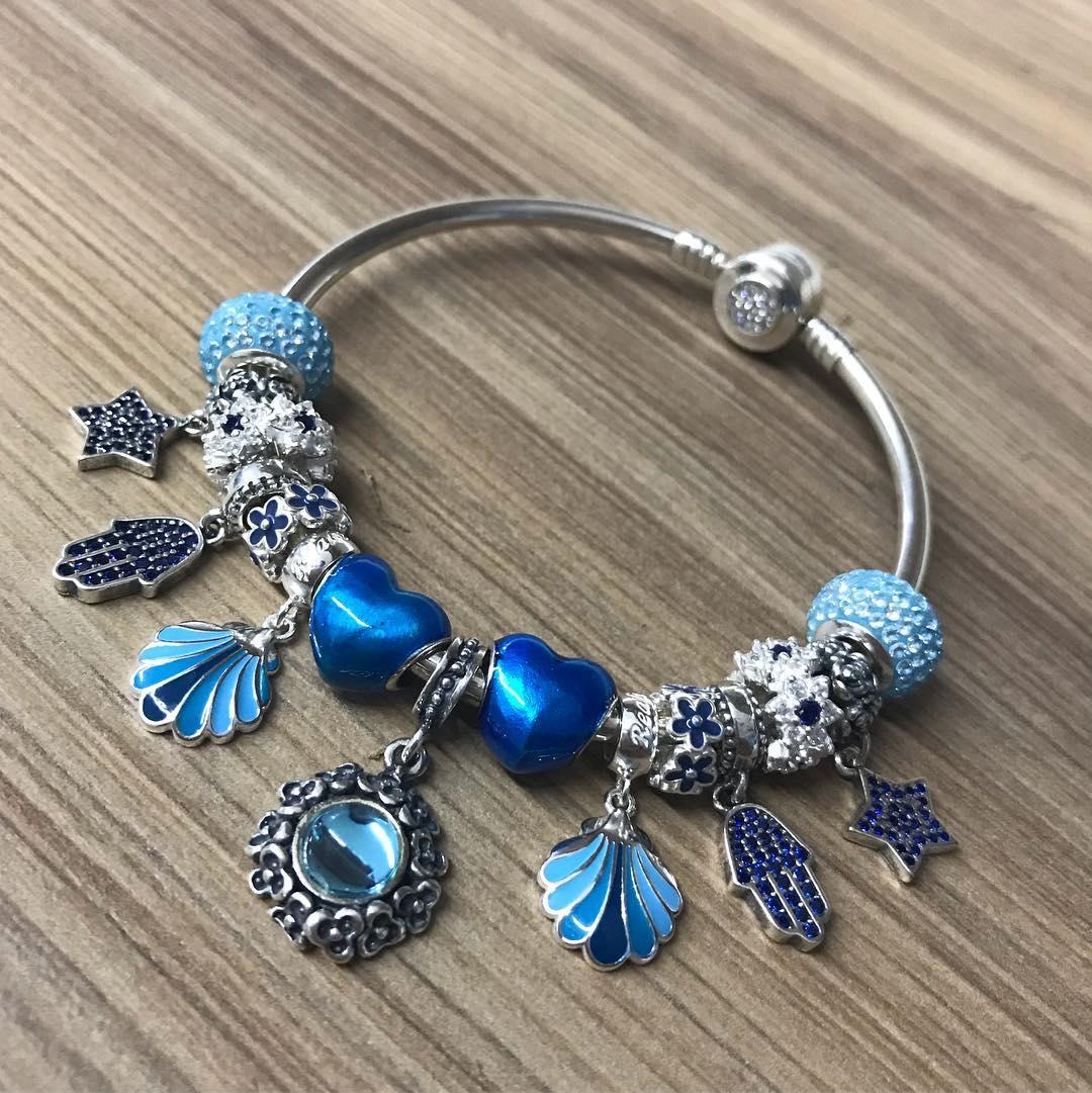 Berloque Separador Coração Azul Metálico