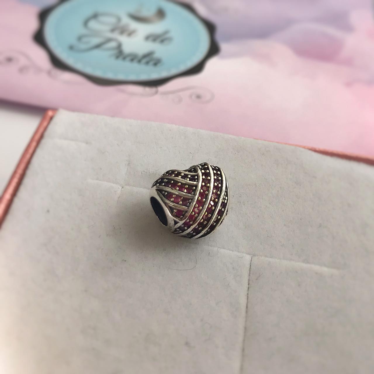 Berloque Separador Coração com Zircônias