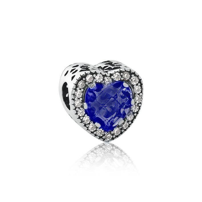 Berloque Separador Coração Cristal Azul Escuro