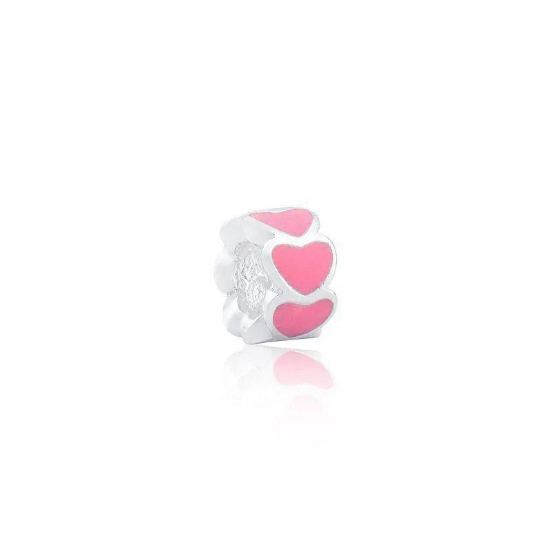 Berloque Separador Coração Rosa