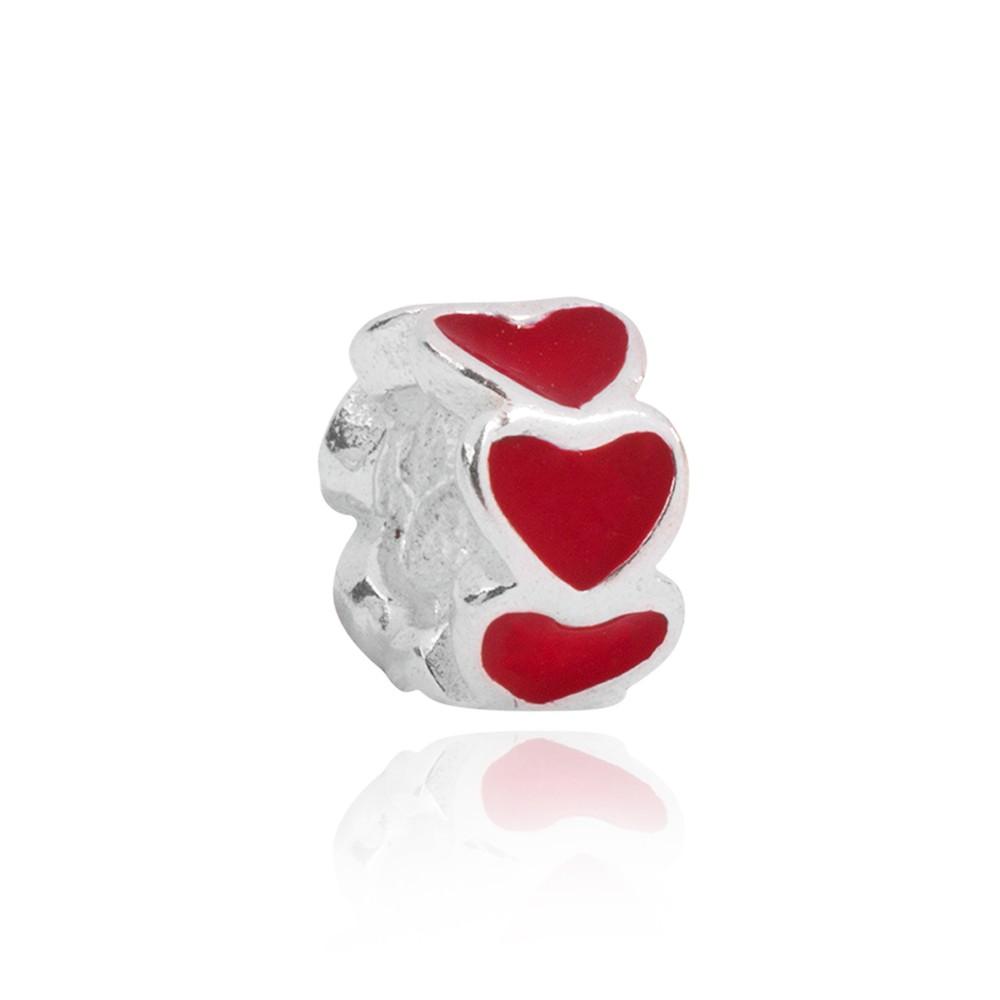 Berloque Separador Coração Vermelho