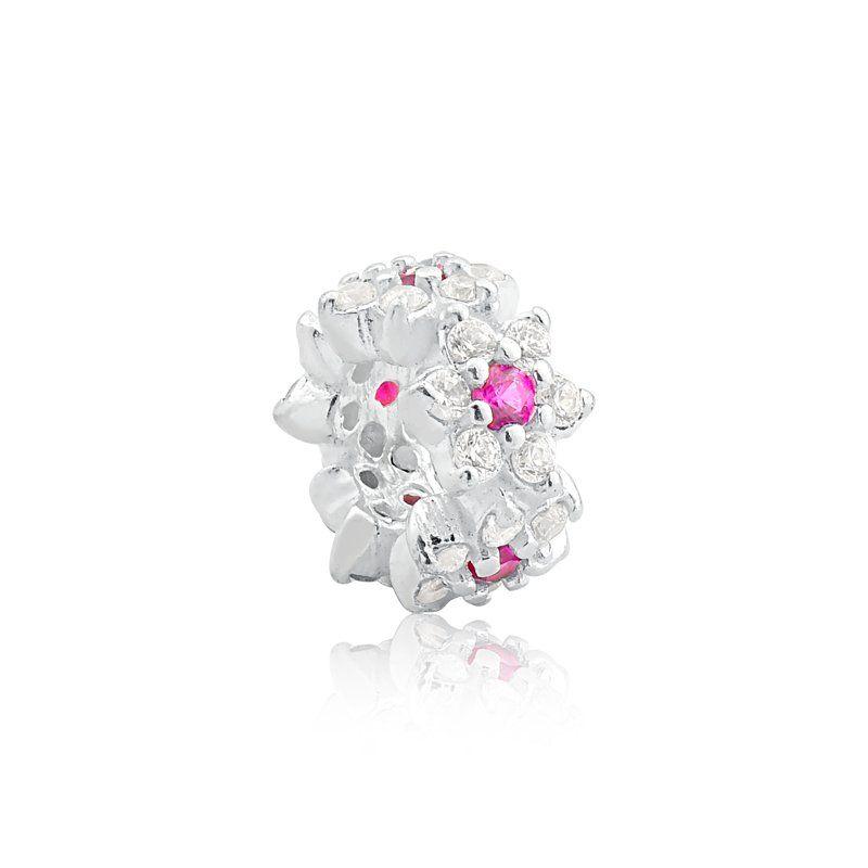 Berloque Separador Flores De Zircônia Rosa