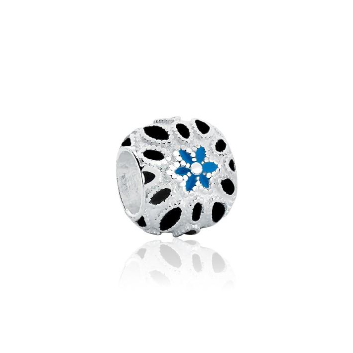 Berloque Separador Florzinha Azul e Preto