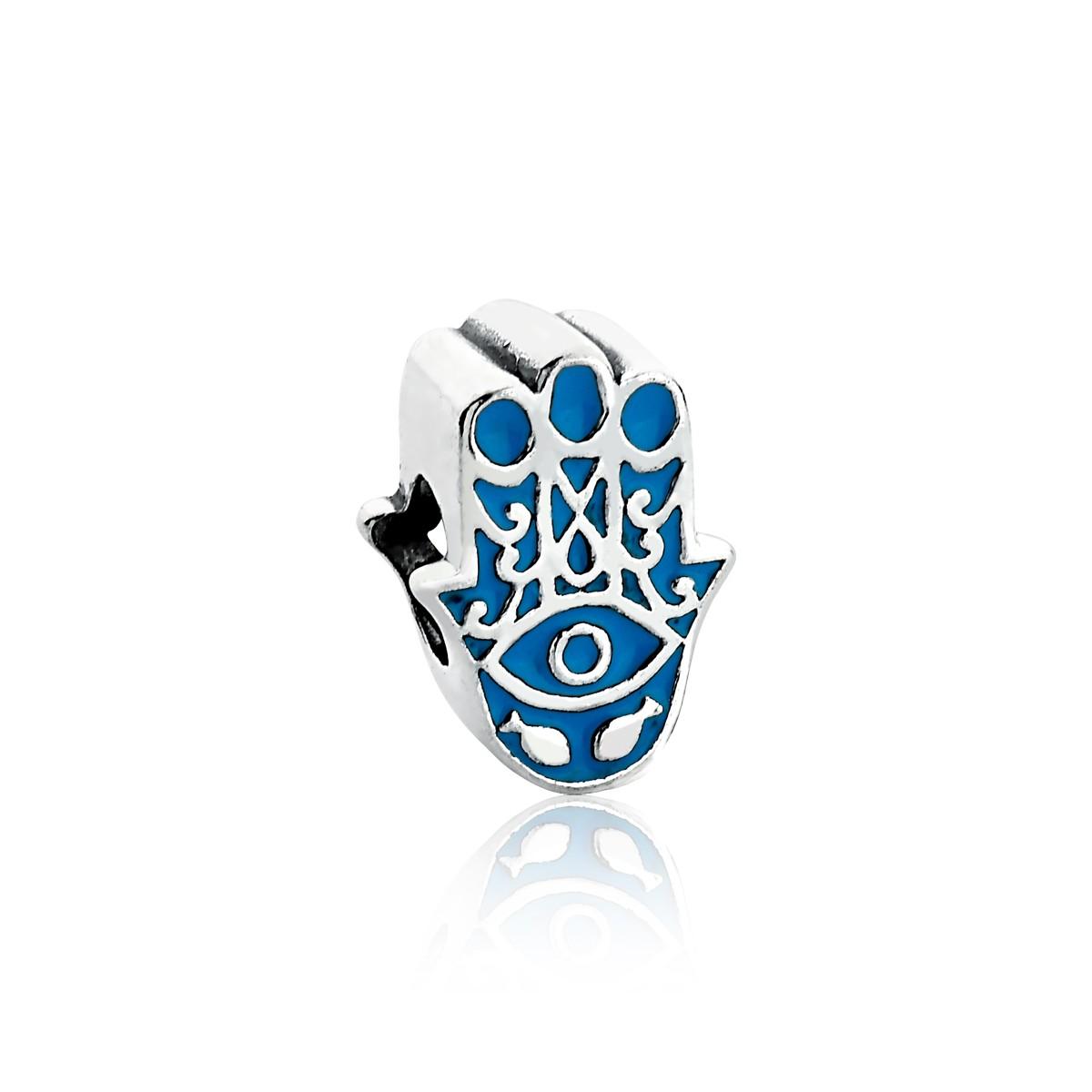 Berloque Separador Mão Hamsá Azul