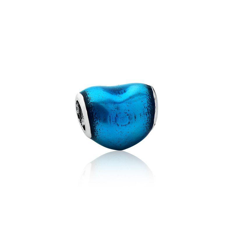 Berloque Separador Mini Coração Azul Metálico