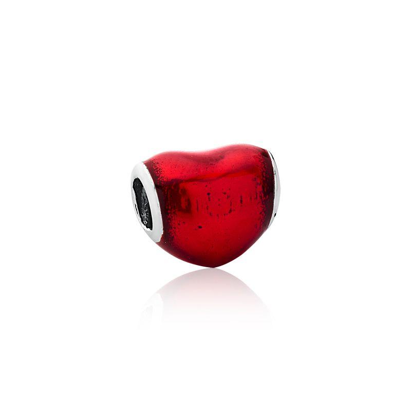 Berloque Separador Mini Coração Vermelho Metálico