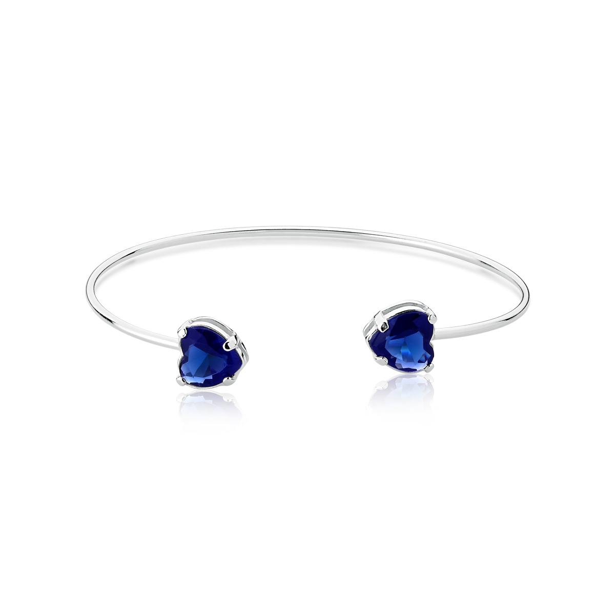Bracelete Coração Pedra Azul
