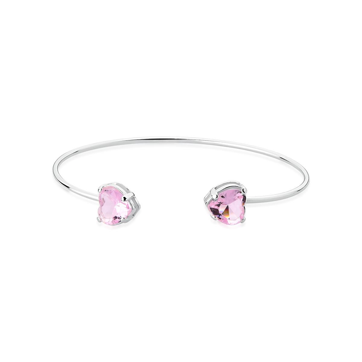 Bracelete Pedra Coração Rosa - Be Free