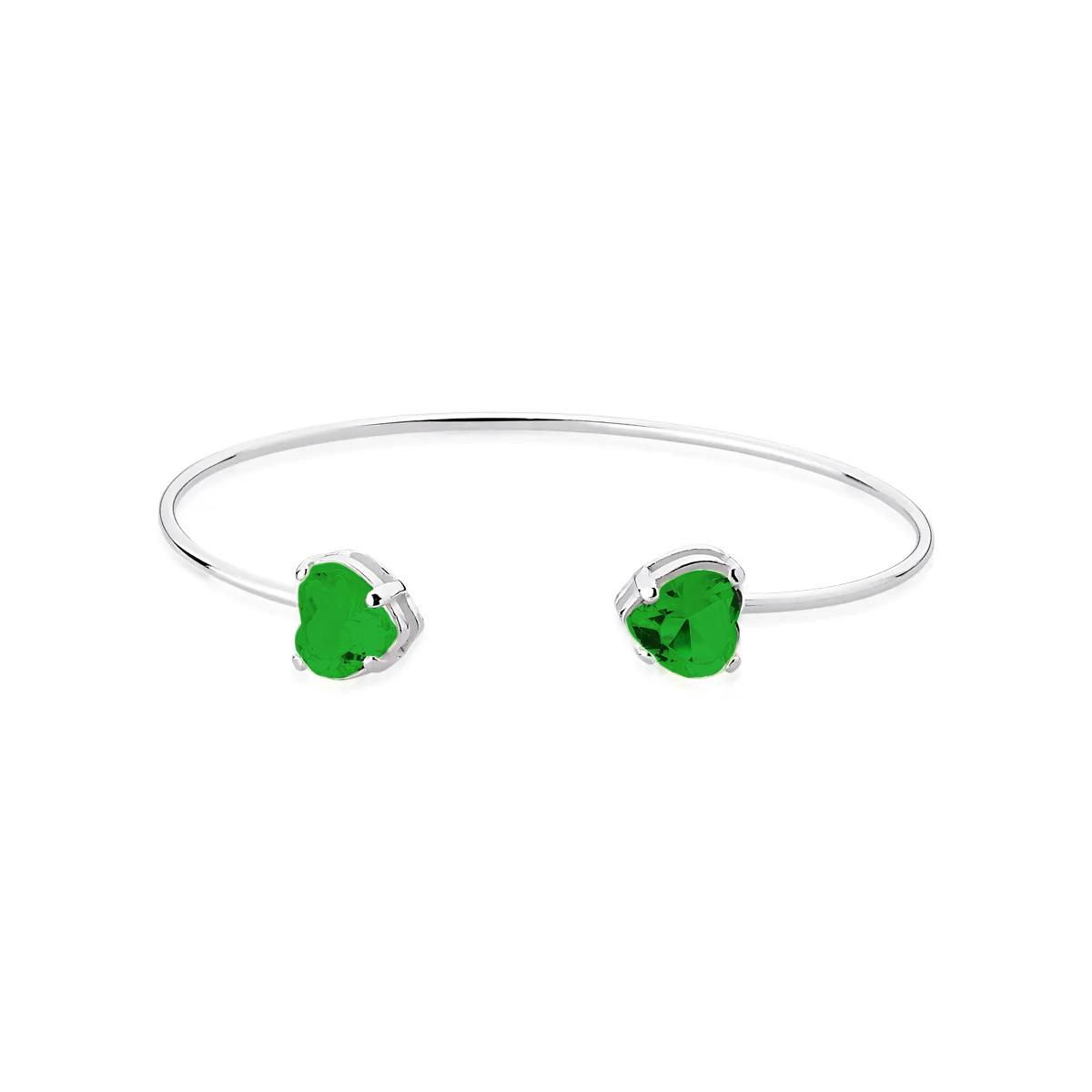Bracelete Pedra Coração Verde