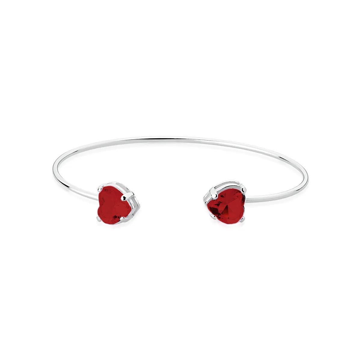 Bracelete Pedra Coração Vermelho