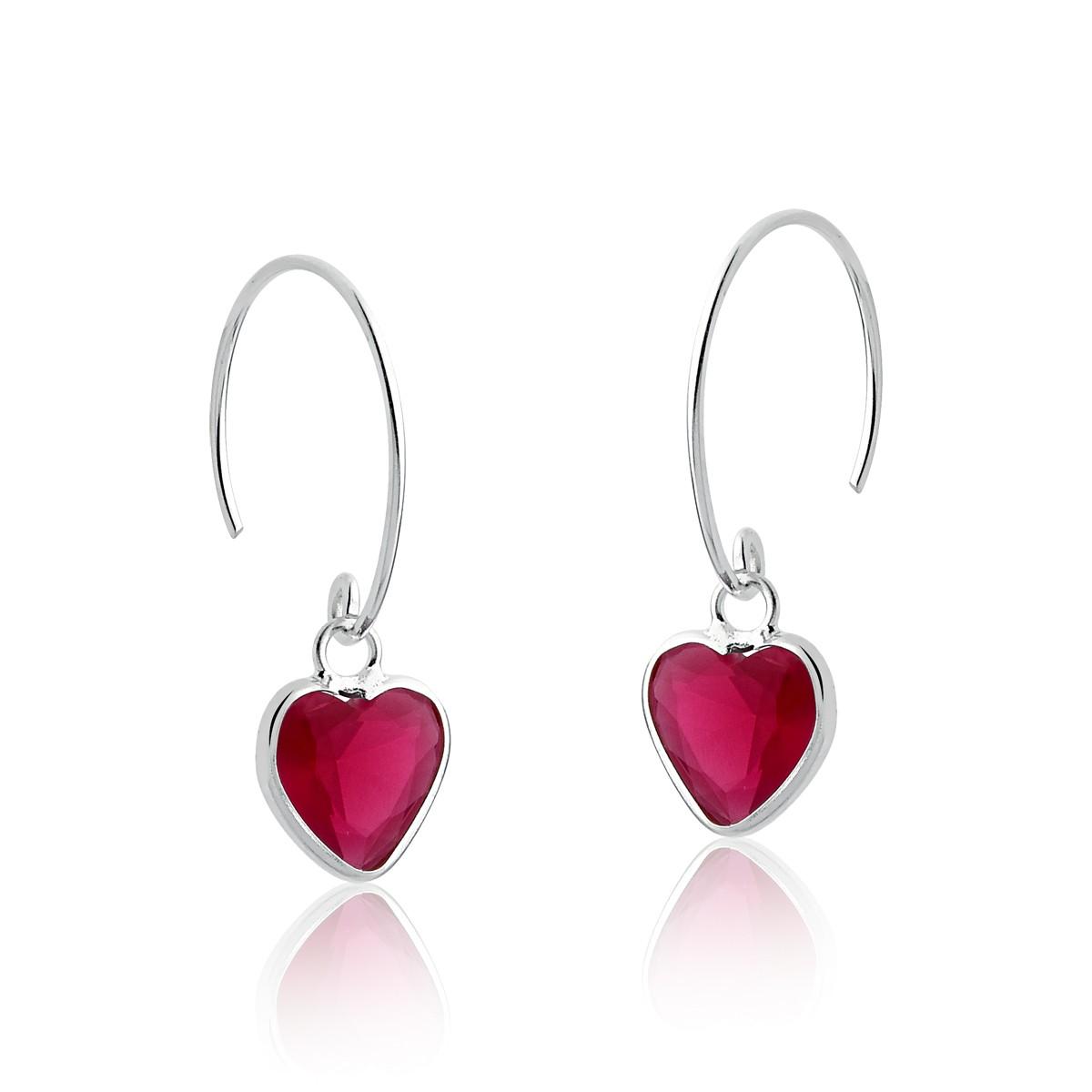 Brinco Argola Coração Zircônia Rosa