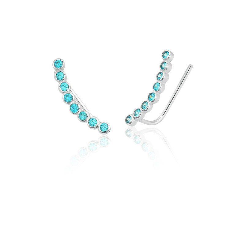 Brinco Bolinhas De Zircônias Ear Cuff Azul Água