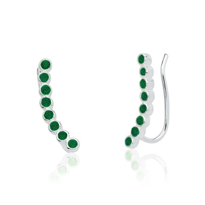Brinco Bolinhas De Zircônias Ear Cuff Verde Escuro