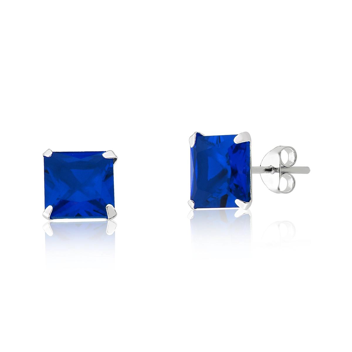 Brinco Carre Azul 8 MM