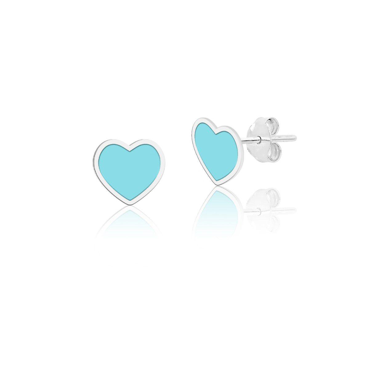 Brinco Coração Azul Esmaltado 4 MM