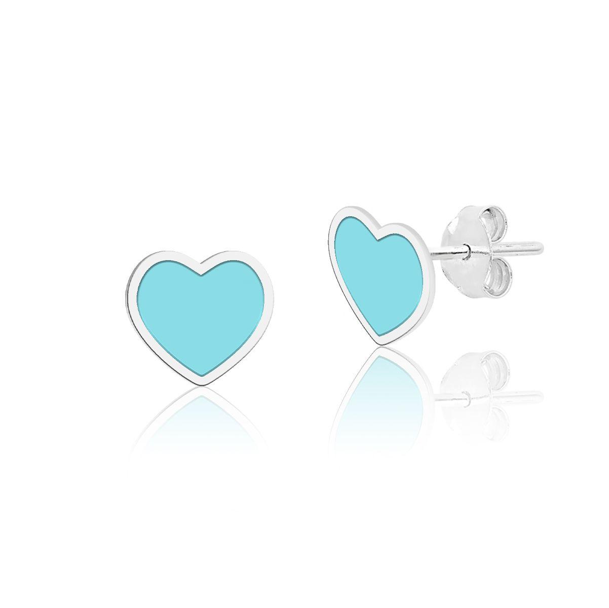 Brinco Coração Azul Esmaltado 7 MM