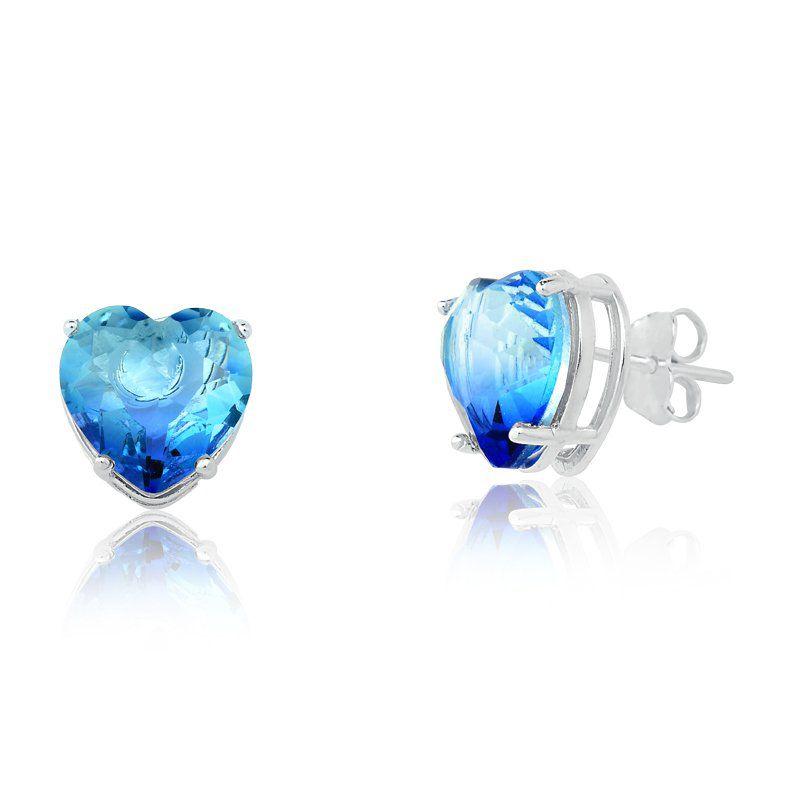 Brinco Coração Cristal Azul Degrade