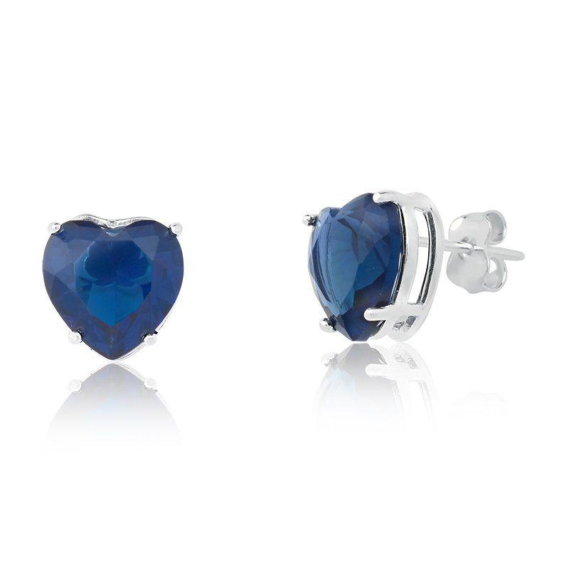 Brinco Coração Cristal Azul Escuro 8 MM