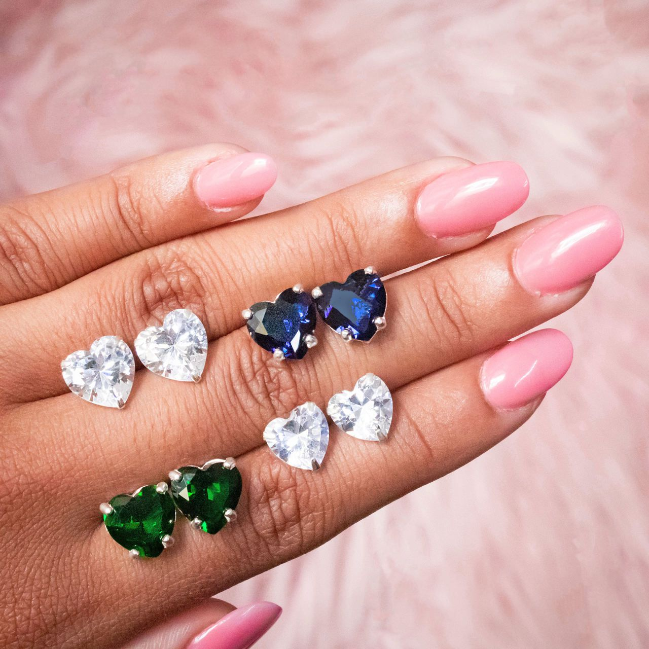 Brinco Coração Cristal Verde 10 MM
