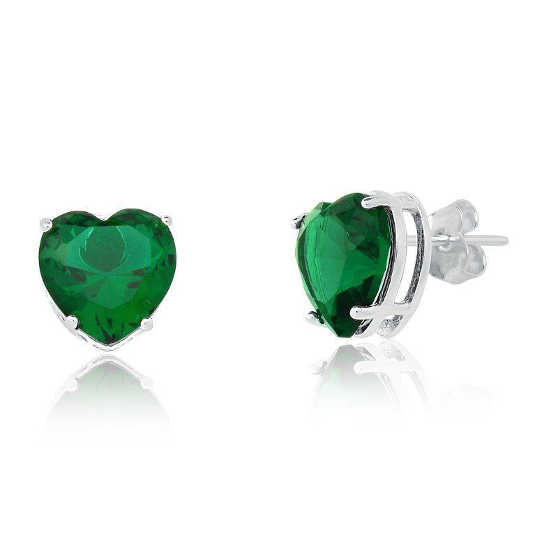 Brinco Coração Cristal Verde