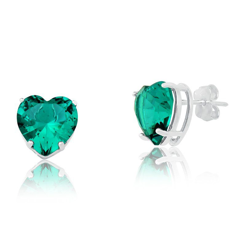 Brinco Coração Cristal Verde Água 8 MM