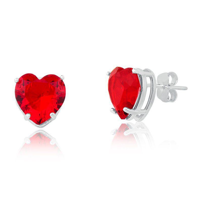 Brinco Coração Cristal Vermelho 8 MM