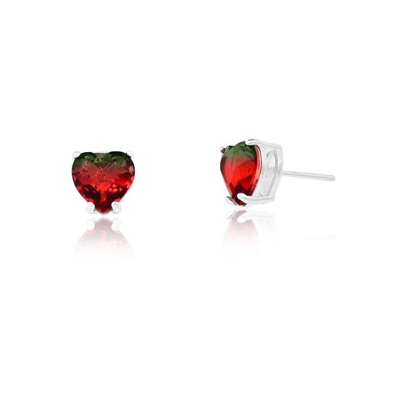 Brinco Coração Cristal Vermelho Mesclado