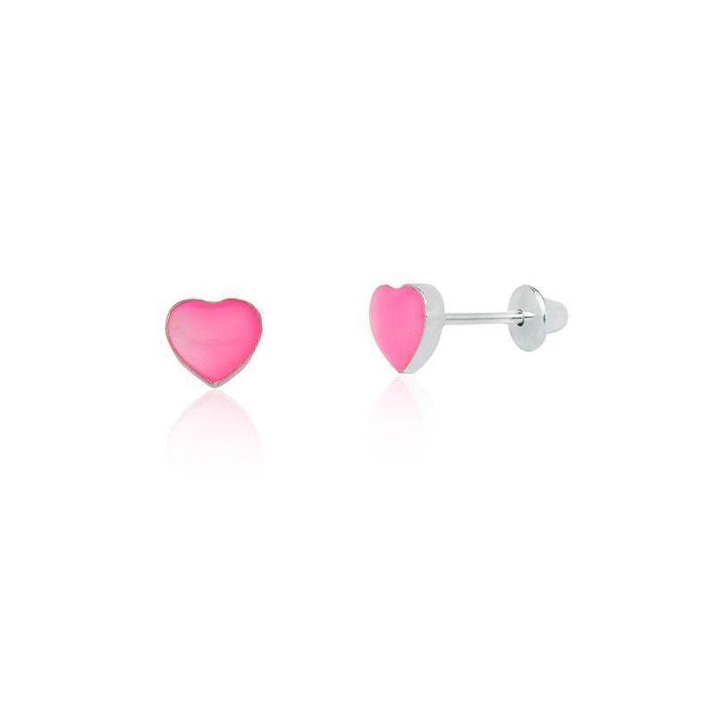Brinco Coração Madrepérola Rosa Baby 5 MM