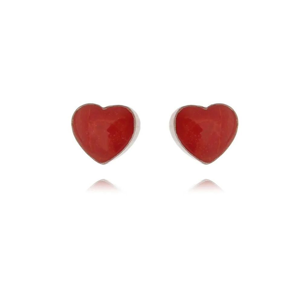 Brinco Coração Madrepérola Vermelha Baby 5 MM