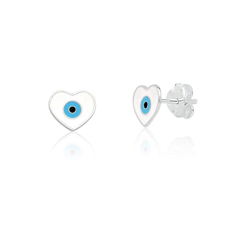 Brinco Coração Olho Grego Branco