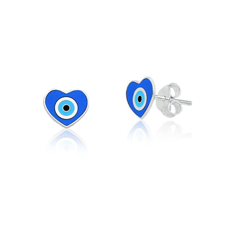 Brinco Coração Olho Grego Azul
