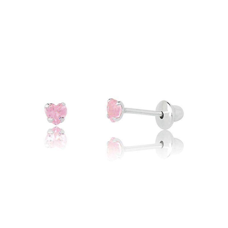 Brinco Coração Rosa Baby 5MM