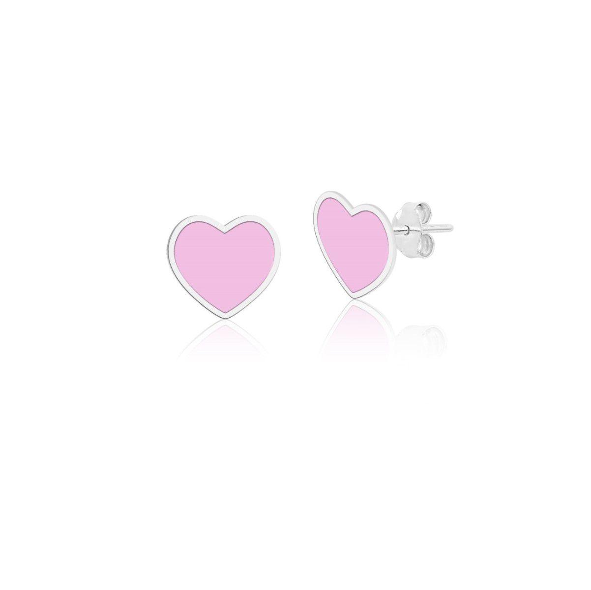 Brinco Coração Rosa Esmaltado 4 MM