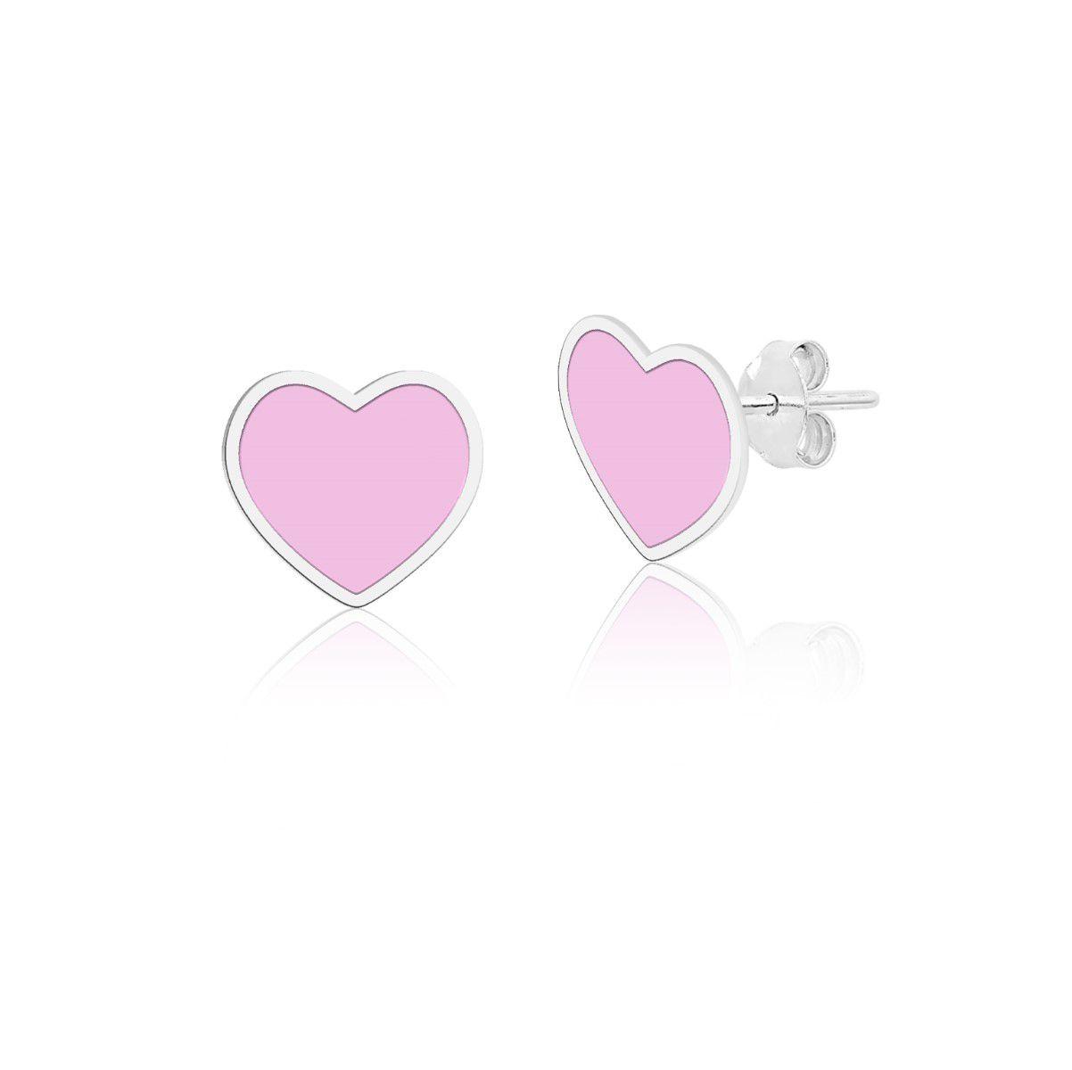 Brinco Coração Rosa Esmaltado 7 MM